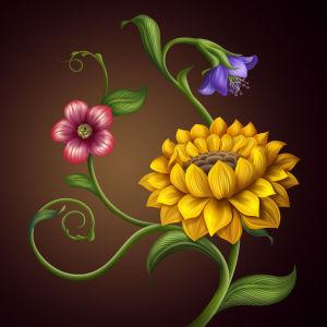 Фотообои Цветовая фантазия (flowers-746)