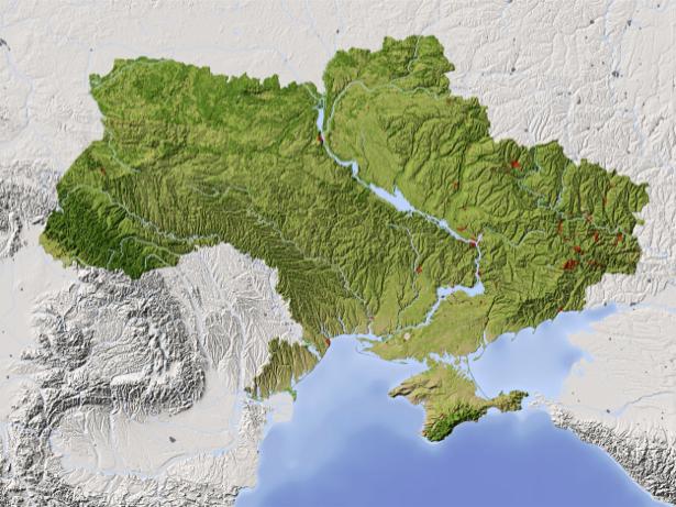 Фотообои карта Украины географическая (map-0000197)