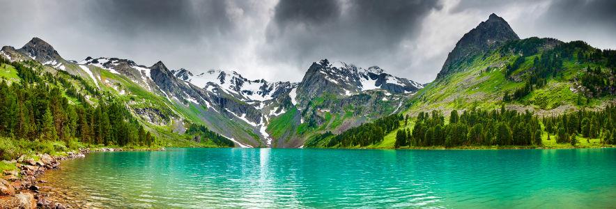 Фотообои лесное озеро альпийские горы (nature-00010)