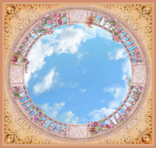 Фотообои для потолка веранда на крыше (overhead-0009)