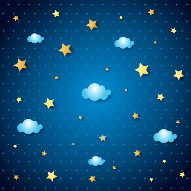 Фотообои на потолок звезды и облака (overhead-0014)