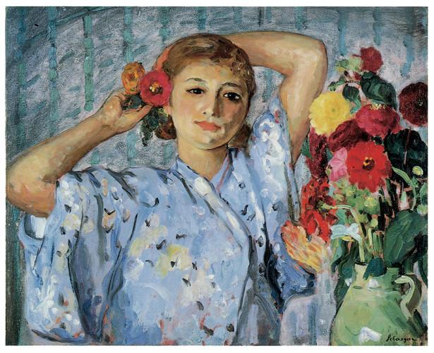 цветы в вазе, молодая женщина (pf-72)