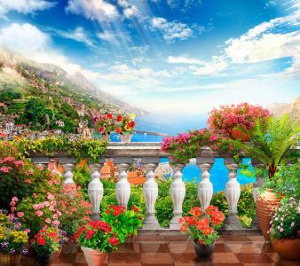 Фотообои цветочная веранда над морем (printmaking-0000132)