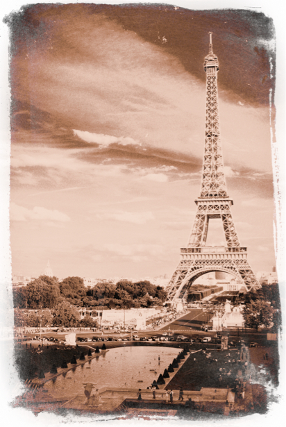 Фотообои Эйфелева башня Франция (retro-vintage-0000150)