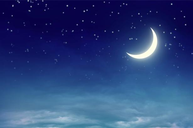 Фотообои месяц в ночном небе звезды (sky-0000130)