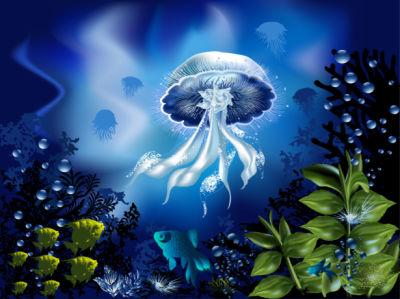 Фотообои для ванны медуза синяя (underwater-world-00190)