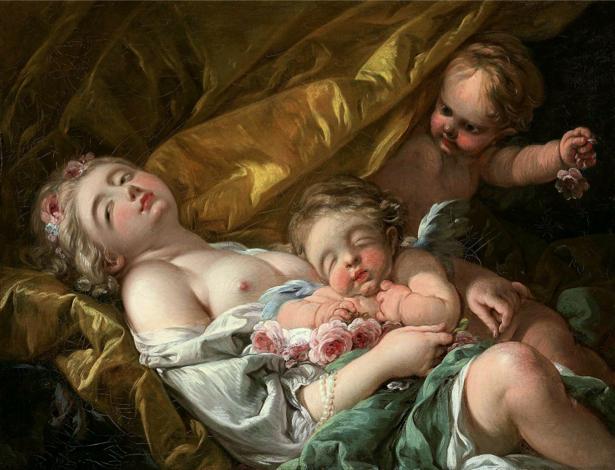Фото обои картина Туалет Венеры ангелочки амуры (angel-00033)