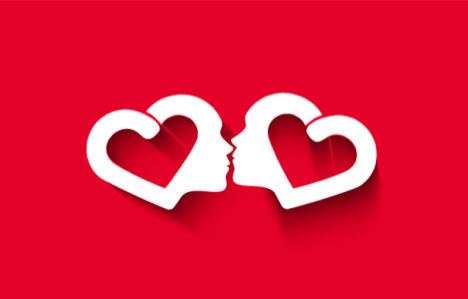 Фотообои в зал сердечный поцелуй (background-0000344)
