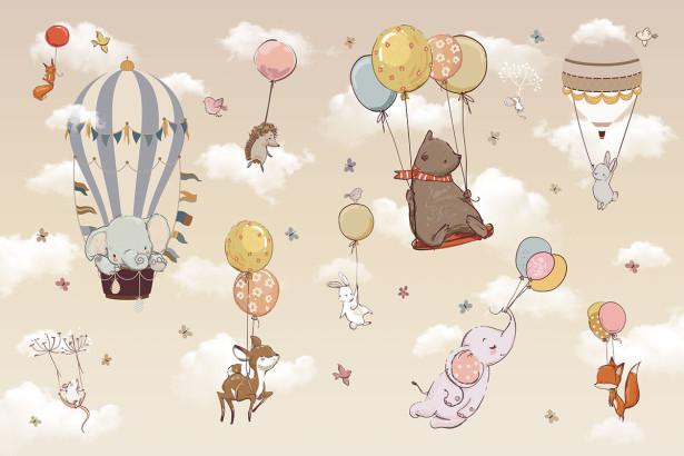 Фотообои Животные на воздушных шариках (child-580)
