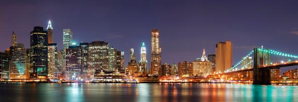 Фотообои панорама ночного манхеттена (city-0000243)