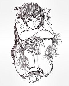 Обои раскраска Лесная фея (color-26)