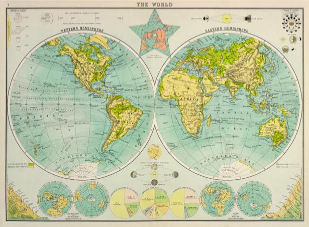 атлас, география, карты, старая карта (map-0000152)
