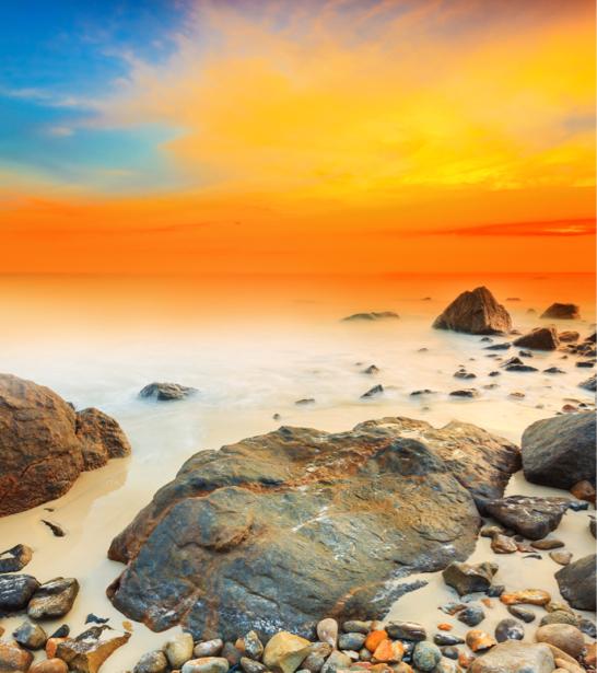 Фотообои море камни оранжевый закат (nature-00581)