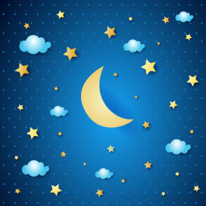 Фотообои на потолок месяц, звезды и облака (overhead-0013)