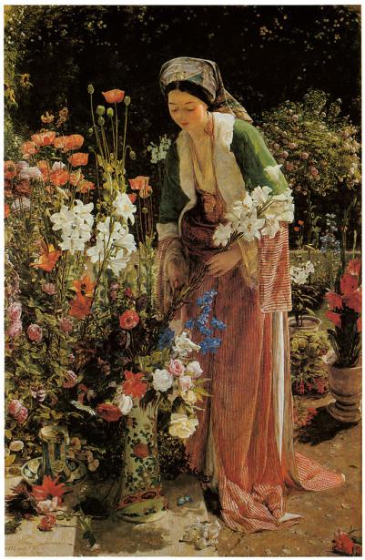 молодая женщина, сад, цветы (pf-74)