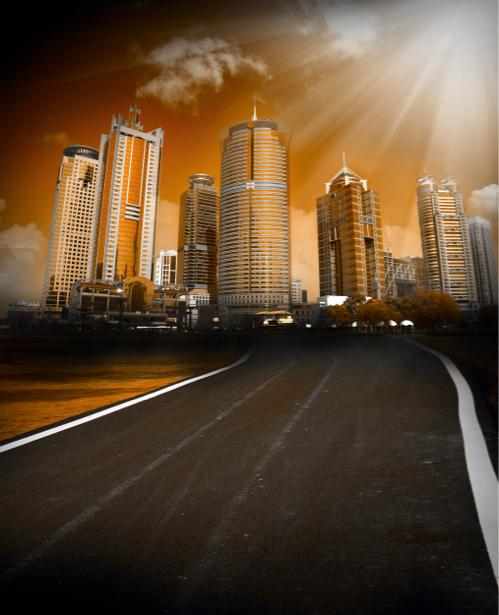Фотообои закат небоскребы дорога (city-0000068)