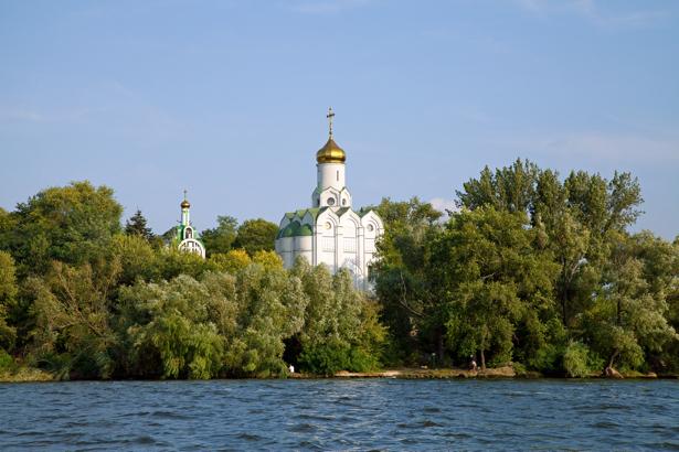 Фотообои Днепропетровск церковь остров (city-0000888)