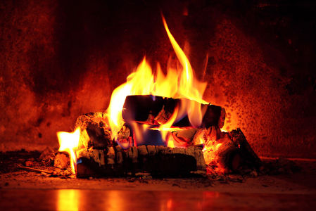 Фотообои дрова в камине (fire-017)