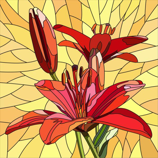 Обои фото цветок красный Витраж (flowers-0000690)