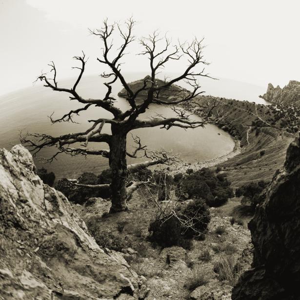 Фотообои море горы сепия фото (nature-00490)