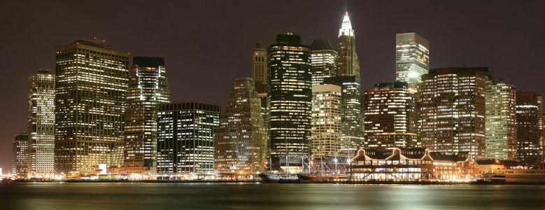 Фотообои Нижний Манхэттен ночью (panorama-79)
