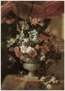 ваза с цветами натюрморт на холсте (pf-85)