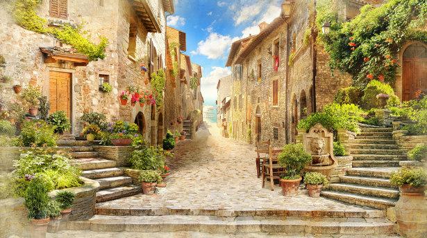 Фотообои французский городок (printmaking-0000119)