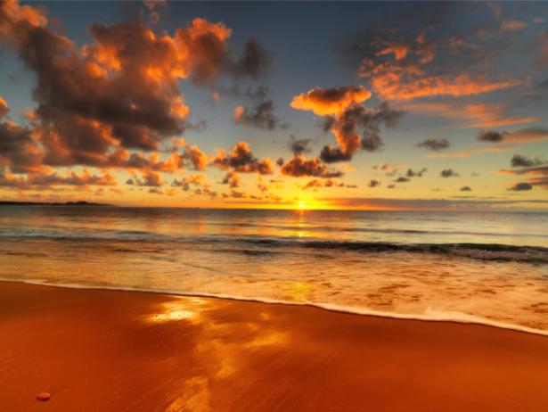 Фотообои море закат красный песок (sea-0000215)