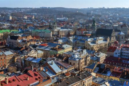 Фотообои Вечерние Львовские крыши (ukr-61)