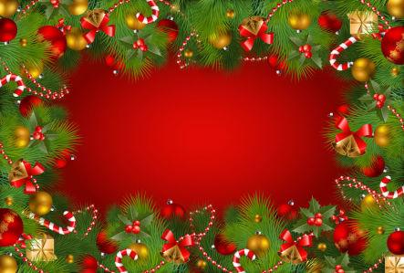 Скатерть Новогодняя на красном фоне (0149)