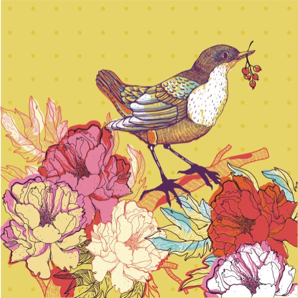Фотообои охра рисованная птица (animals-0000397)