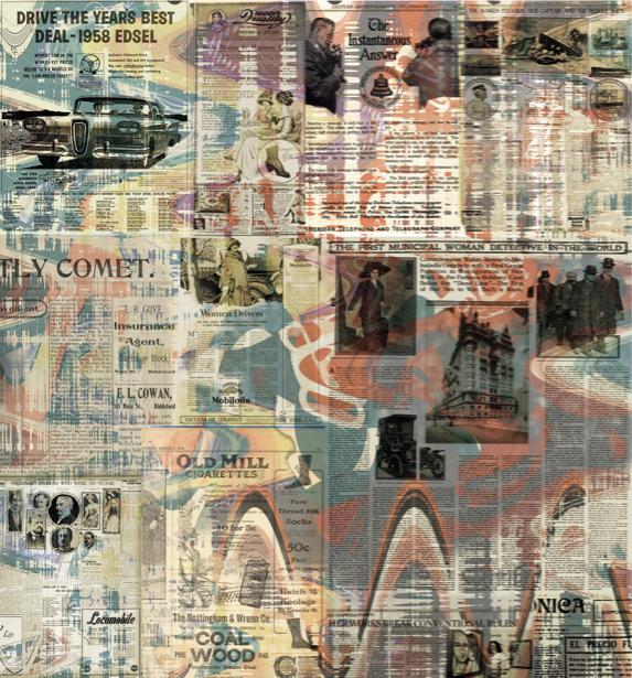 Фотообои фон газетный коллаж ретро (background-0000205)