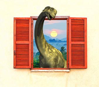 Фотообои Динозаврик в красном окне (child-471)