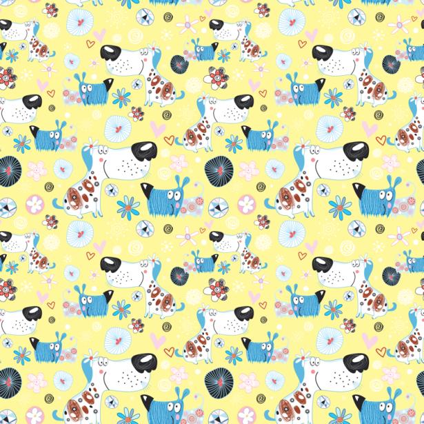 Фотошторы собачки на желтом фоне (children-curtain-00002)