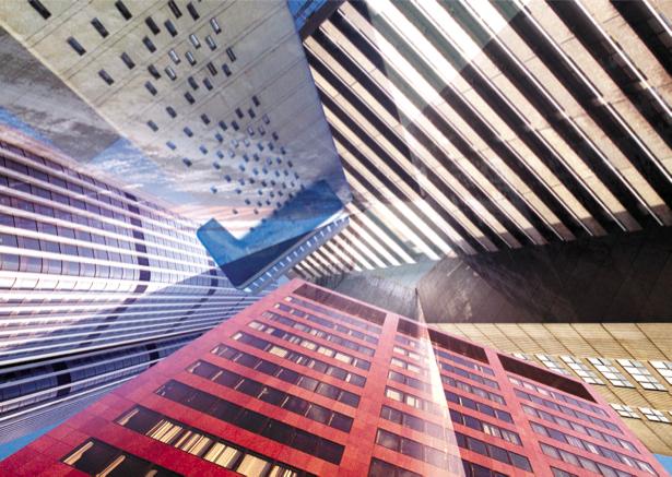 Фотообои небоскребы, снизу-вверх (city-0000563)