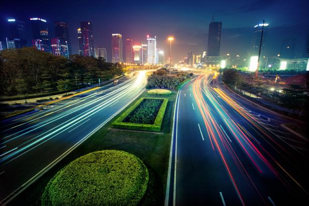 Фотообои ночной мегаполис мост (city-0000771)