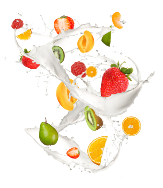 Фотошторы фрукты в молоке (kitchen-curtain-00003)