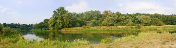 Фотообои лесная панорама с озером (panorama_0000034)