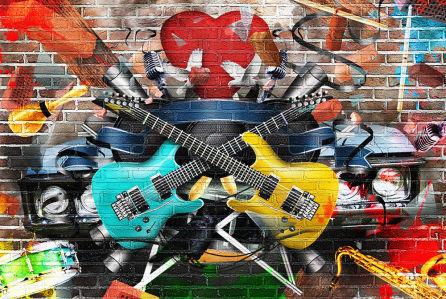 Фотообои Граффити музыкальный коллаж (background-393)