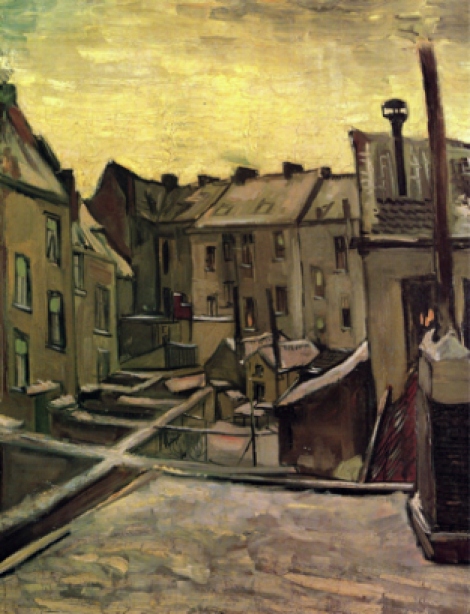 Ван Гог (backyards-of-old-houses-in-antwerp-in-the-snow-croped-version-1885)