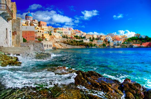 Фотообои Греция набережная причал (city-0000617)