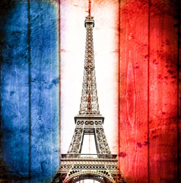 Эйфелева башня фотообои флаг (city-0001289)