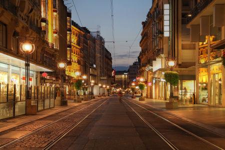 Фотообои вечерняя Женева (city-0001414)