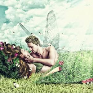 Фотообои фентезийная пара в поле (fantasy-0000113)