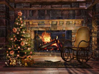 Фотообои с камином, креслом-качалкой и елкой (fire-005)