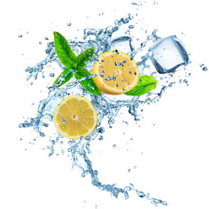 Фотообои в кухню лимон в брызгах (food-0000299)