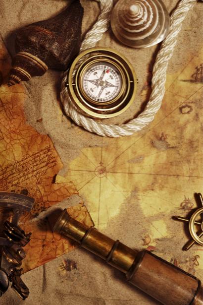 Фотообои карта компас труба подзорная (map-0000199)