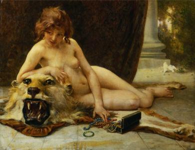 Фотообои девушка со львом (art-0000026)