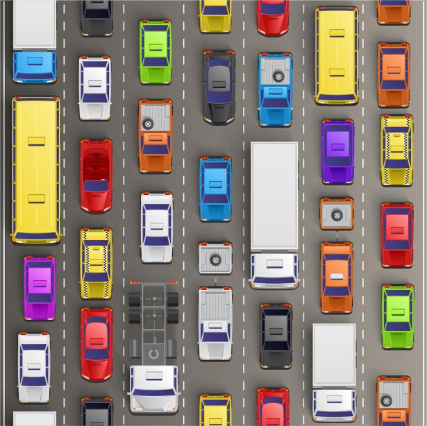 Фотообои пробка на дороге (child-443)