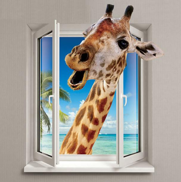 Фотообои Жираф в окне (child-473)